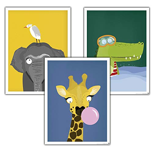 Close Up Kinderzimmer Poster Afrika 3er-Set (30 x 40 cm | 11,8x15,7