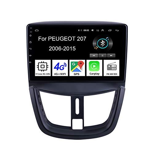 Android 10 Autoradio 9 Pulgadas Coche Radio De Coche Pantalla Tactil para Peugeot 207 2006-2015 Radio del Coche Car Player Conecta Y Reproduce Coche Audio USB Cámara Trasera,4Cores 2G32G