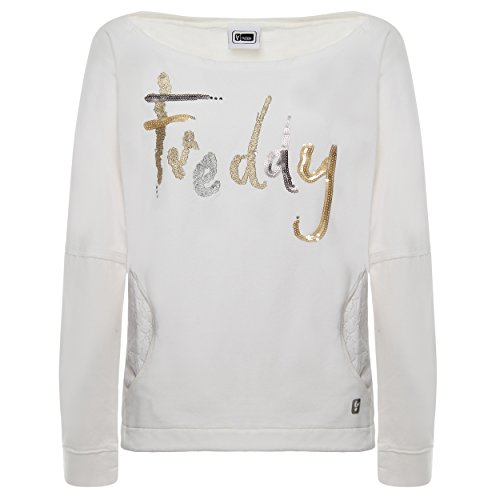 Freddy Damen Sweatshirt Weiß Bianco, Weiß S
