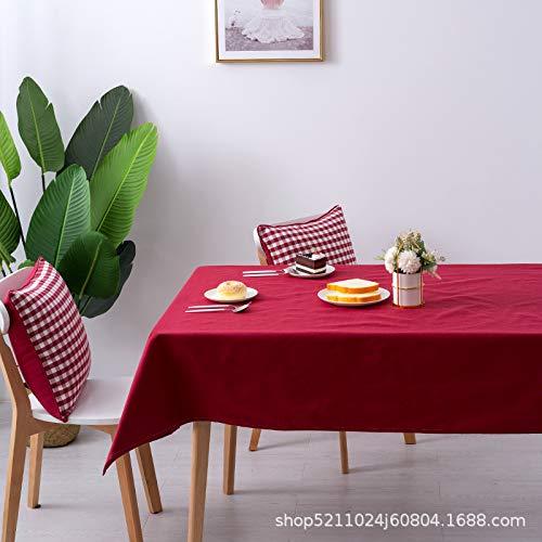 KAINUYA Simple Y Fresco Algodón Y Lino Mantel A Cuadros Mantel Mantel Tela Arte 120 * 120 Color sólido Burdeos