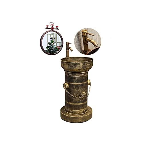 BATHYJ Lavandino A Colonna Industriale Bagno 45 * 43 * 85cm con Specchio al Mercurio con Rubinetto, Lavabo su Colonna Vintage Metallo Bagno con Presa d'Acqua e Sistema di drenaggio
