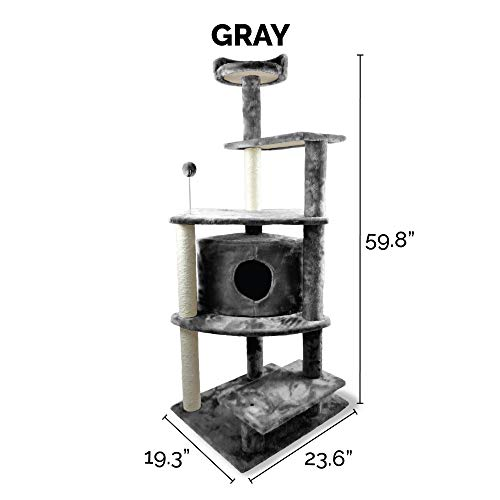 Furhaven Pet Cat Tree   Tiger Tough Cat Tree House Condo Perch Entertainment Playground Furniture for Cats & Kittens, Platform House Playground, Gray