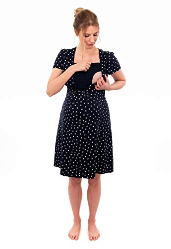 Herzmutter Stillnachthemd-Umstandsnachthemd - Schwangerschafts-Nachthemd mit Stillfunktion - Nachtwäsche für Schwangerschaft-Stillzeit-Wochenbett - Streifen-Maritim - 2800 (M, Blau/Blatt-Muster)
