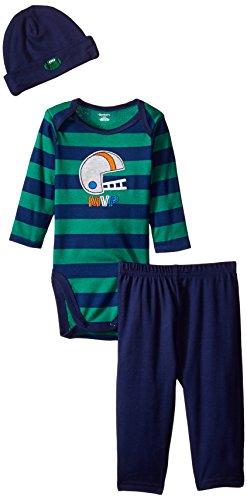 Gerber Baby-Boys Newborn 3 Piece Bodysuit Cap and Pant Set, Football, 24 Months