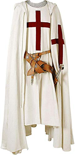 Hayat handicrafts Medieval Knight Cloak & Tunic Templar Hooded Cap Crusader Cloak/Tunic Costumes Cosplay SCA Size-XL
