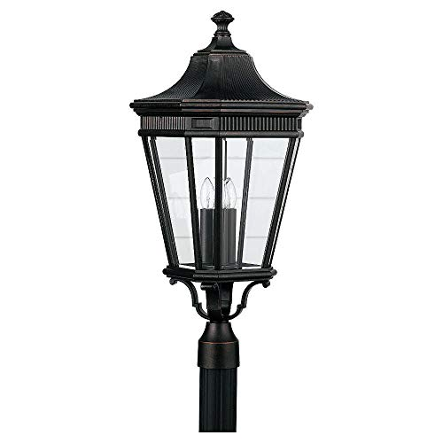 Feiss OL5408 Traditional 3 Light Post Lantern from the Cotswold Lane Collection, Grecian Bronze