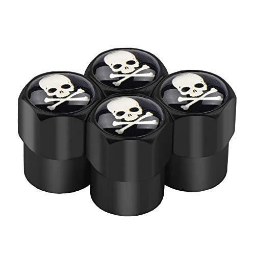 OUIPP Tapones Valvula Coche 4pcs Coche Estilo Skull Logotipo de la Rueda de la Rueda de la válvula de la Rueda de la Rueda Caps Mente Maestro Emblema Neumático Tapones (Color Name : Black Skull)