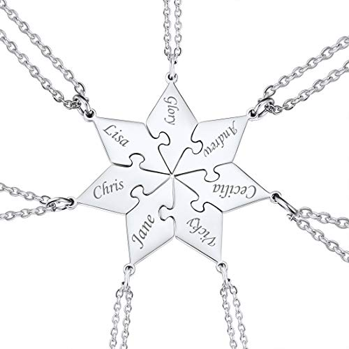 Customized BFF Necklace Set of 3/4/5/6 with Rolo Cable Chain Friendship/Family Jewelry 18 Inch Personalized Engraving Stainless Steel Puzzle Pieces Pendant (7Pcs)
