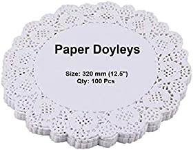 EleWa Round Doily Paper Mats/Lace Doilies/Doyley Paper, Cake Decoration Liner - 100 Pcs (Off-White, 12.5 Inch)