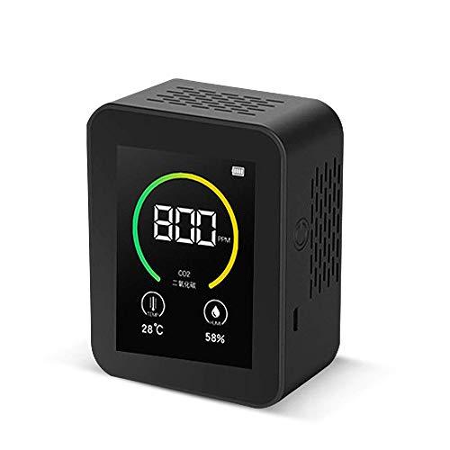 co2 Messgerät, Luftqualität Messgerät USB Kohlendioxid Messgerät 400-5000PPM Messbereich Intelligenter Lufttester TFT Farbbildschirm CO2-Melder mit Temperatur&Feuchtigkeits (schwarz)