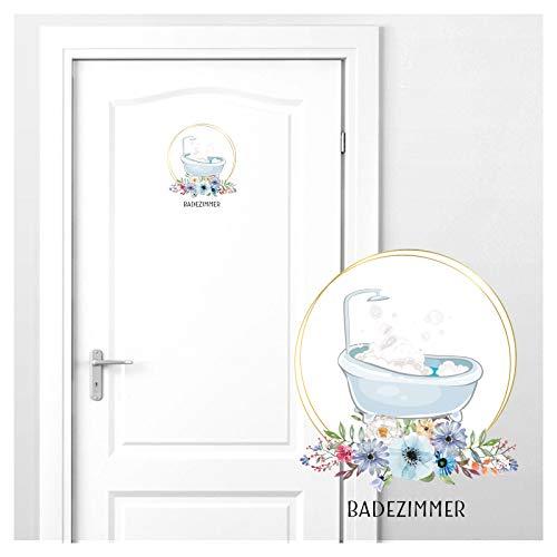 Grandora Türaufkleber Badezimmer mit Badewanne & Blumen I 16 x 19 cm (BxH) I Wandsticker WC selbstklebend Klo Wandaufkleber Toilette Wandtattoo DL442