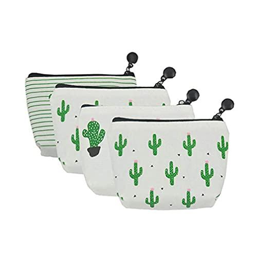 STOBOK 4Pcs Leinwand Kaktus Make- Up Tasche Leinwand Bleistift Tasche Wasser- Beständig Kaktus Tasche Bleistift Münze Schlüssel Lagerung Tasche für Studenten Erwachsene