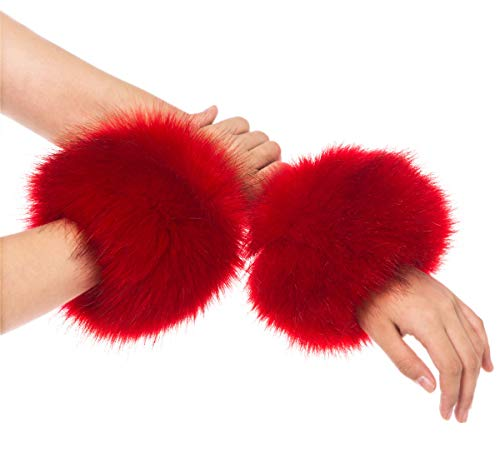 Lucky Leaf Women Winter Wrist Warmers Faux Fur Soft Cuffs Band Ring (C1-Red)