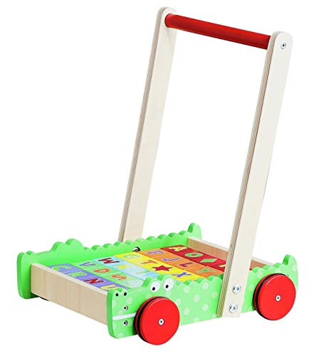 wooden personalised brick cart baby walker