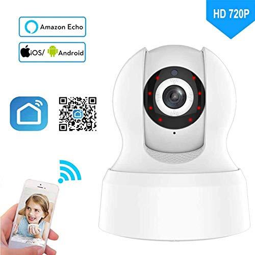 Cámara IP PTZ de hogar WiFi, cámara de Seguridad Inteligente inalámbrica 720P, cámara de vigilancia de Red Interior WiFi, detección de Movimiento, Soporte Amazon Alexa Echo, Google Home