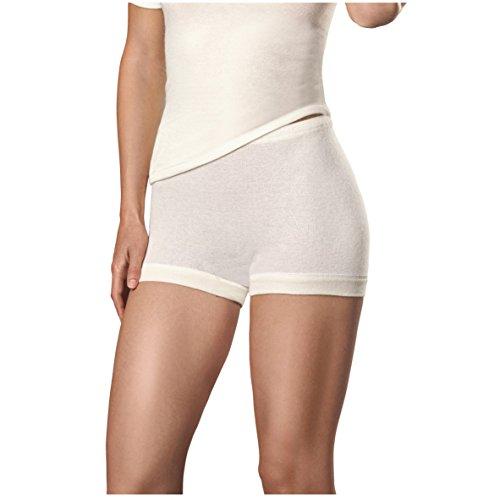 con-ta Pagenschlüpfer, weiche Unterwäsche für Damen, passgenaue Bekleidung aus Angora und Wolle, Bequeme Panty, Damenwäsche in Wollweiß, Größe: 40