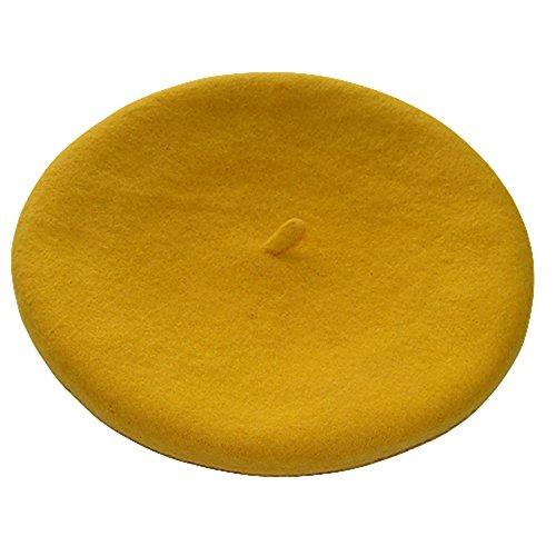 Livecity® Frauen Mädchen Französischer Stil Einfarbig Wolle Warm Ebene Baskenmütze Beanie Hut Barette