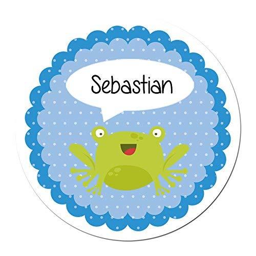 Papierdrachen 24 individuelle Aufkleber für Kinder - Motiv Frosch - personalisierte Sticker - Schule Einschulung