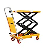 Xilin Platform Hand Hydraulic Lift Table Cart with Wheels Double Scissor 51.2' Lifting Height 770lbs Capacity