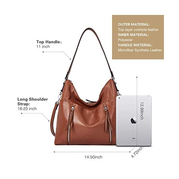 CLUCI Briefcase for Women Leather Slim 15.6 Inch Laptop Business Shoulder Bag Black CLUCI Women Genuine Leather Hobo Handbags Designer Top Handle Tote Large Purses Fashion Ladies Shoulder Bag 3