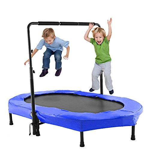 ANCHEER Foldable Mini Trampoline,Fitness Rebounder with Adjustable Foam Handle for Two Kids with Safety Pad,Entertainment Trampoline for Parent-Child Indoor/Garden Workout Max Load 220lbs