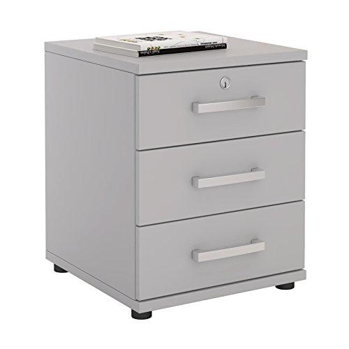 CARO-Möbel Bürocontainer Schreibtischcontainer Büroschrank Toronto, lichtgrau, abschließbar mit 3 Schubladen, 44 x 58 x 45 cm
