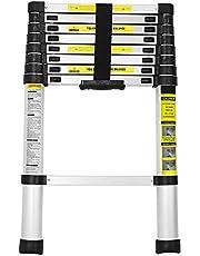 wolketon Escalera Telescópica de Aluminio, Carga 150kg Escalera Extensible Multifuncional Portátil, Extensión telescópica 9 Escalones Antideslizantes