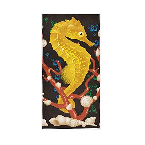Rulyy Badetuch, Ozean, Seepferdchen, Korallenschnecke, Handtuch, reine Baumwolle, saugfähig, weich, für Küche, Fitnessstudio, Badezimmer, 76,2 x 38,1 cm