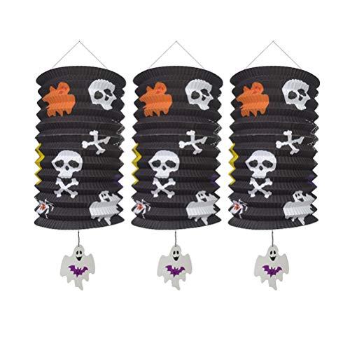ABOOFAN 3 linternas de órgano de Halloween plegables Haning linternas de papel para decoración de fiestas del festival (fantasma blanco), decoración perfecta para festivales