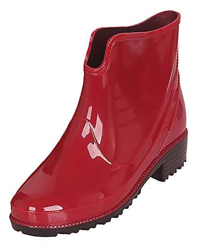 Botas de lluvia antideslizantes para mujer, katiuskas, botines, color Rojo, talla 37.5 EU