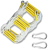 Emergency Fire Escape Ladder, 16 Ft (2 Story) Flame Resistant Safety Rope Ladder With Hooks, Fast To Deploy & Easy To Use,Compact & Easy To Store, Reusable,Weight Capacity Up To 2500 Pounds