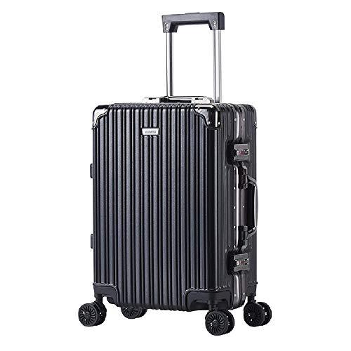 HANQING Aluminum frame trolley suitcase, universal wheel suitcase, ultra-light cabin,Black-51 cm x 35 cm x 22 cm