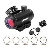 AOMEKIE Airsoft Red Dot Visier für 22mm/20mm Schiene Leuchtpunktvisier Rotpunktvisier mit Grundhalterung und Schutz 11 Helligkeitseinstellungen