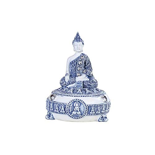 GSC 88239 5 Inch Buddha Figurine Trinket Box, Blue and White