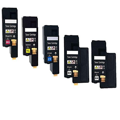 Ouguan Compatible Toner Cartridges for Dell 1660 c1660 C1660w C1660cn C1660dn C1600dnw C1600cnw High Yield 1250 Pages & 1000 Pages 2 Noir/1Cyan/1Magenta/1Jaune