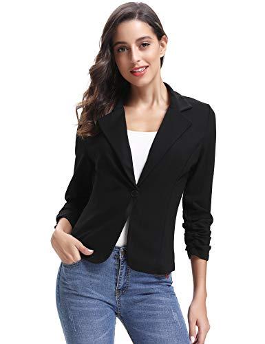 Abollria Damem Blazer Elegant 3/4 Arm Kurzblazer Leichte Stretch Jacke mit Reverskragen für Büro und Freizeit