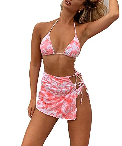 Swimwear 2021 Mujeres Tie-dye traje de baño sexy ajustado alto elástico Split traje de baño Beachwear Bikini