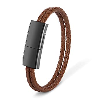 USB Charging Bracelet Cable Fashion Double Braided Leather Wrist Data Charger Cord Perfect Birthday/Christmas/New Year/Thanksgiving Day Gift for Family Lovers Friends  Brown L(8.2