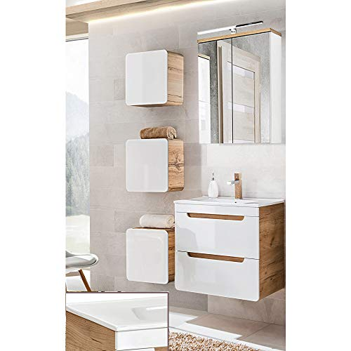 Lomadox Badezimmermöbel Set Hochglanz weiß mit Wotaneiche, 60cm Waschtischunterschrank mit Keramik-Waschtisch, LED-Spiegelschrank & 3 Hängeschränke