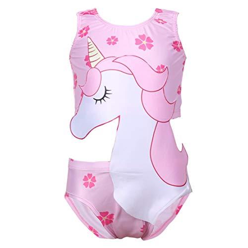 Traje de Baño Unicornio para Niñas Bañador una Pieza Ropa de Natación,Vacaciones, Playa