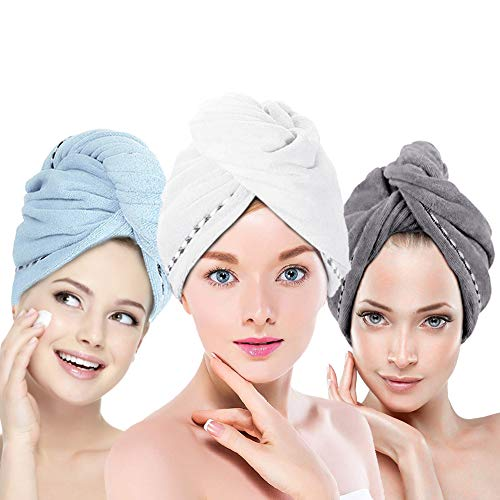 Hair Towel Wrap Turban Microfiber Hair Drying Towels, Quick Magic Hair Dry Hat Cap Twist Head Towel with Button, Quick Dry Super Absorbent for Long & Curly Hair, Anti-Frizz [3 Pack] by AMoko
