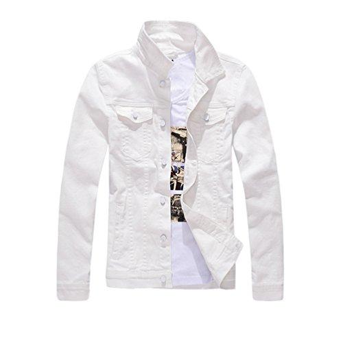 Yiiquan Herren Einreihig Design Denim Mantel Schlanke Freizeit Jeansjacke Retro Waschen Jacke (White, Asia M)