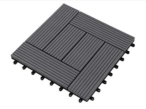 Carrelage de terrasse Premium WPC anthracite 30x30x2,1 cm Carrelage de balcon simple carrelage mosaïque, 11 pièces