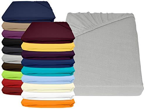 npluseins Jersey Elasthan Spannbettlaken für Wasser- und Boxspringbetten - in 19 modernen Farben - Steghöhe ca. 40 cm - Maße ca. 180-200 x 200-220 cm, Silber