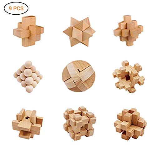 9 Stück Knobelspiele aus Holz, IQ Puzzle 3D Holzpuzzle Set, Kong Ming Lock Geschicklichkeitsspiele für Erwachsene Kinder