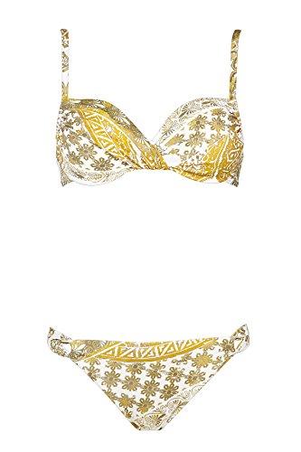 Maryan Mehlhorn, Bikini-Set, Oberteil ungefüttert mit Bügel, Bikini Rioslip, Orient 5520 Dess. 608 (36C, White-Curry (961))