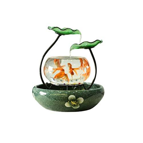 SKK Fuente de agua para interiores de escritorio, fuente de cerámica de hoja de loto que fluye en cascada de agua, adecuada para decoración de hogar, oficina, dormitorio, (color: C con atomizador)