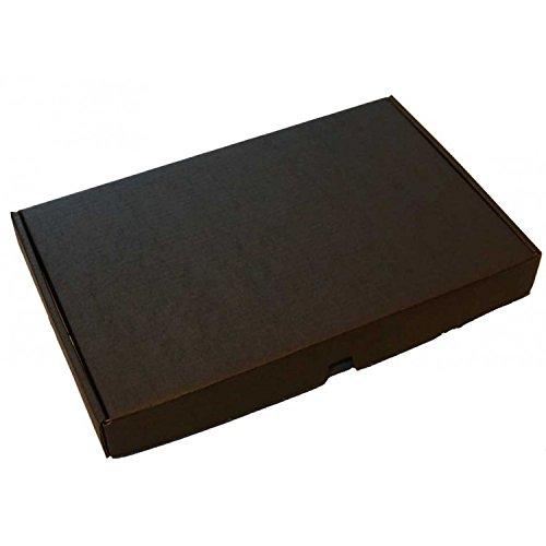 5 cajas de cartón planas plegables pequeñas para envío, 25 x 16 x 3 cm, 5 unidades, caja de regalo, color negro