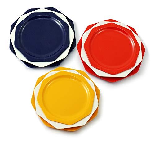 Cartaffini–Colección Bauhaus–3 conjuntos de platos rojos, amarillos y azules - 9 platos...