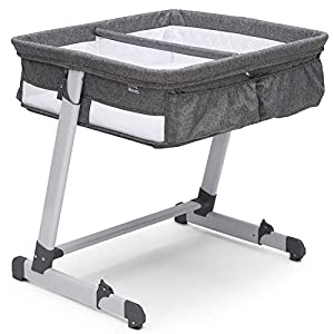 Simmons Kids By The Bed City Sleeper Bassinet for Twins – Adjustable Height Portable Crib with Wheels & Airflow Mesh, Grey Tweed